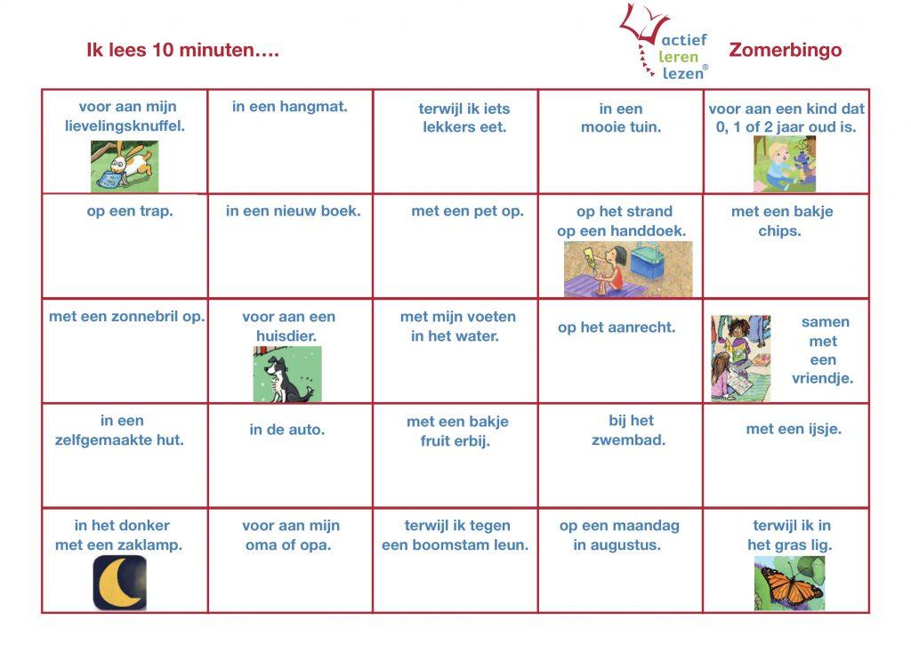 acief lerenlezen zomerbingokaart 3